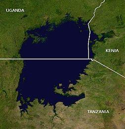 Il lago Vittoria in Africa e l'attuale suddivisione geopolitica