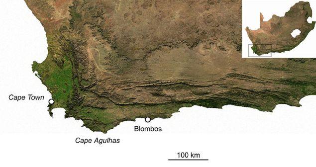 Cartina della costa presso Cape Agulhas, con la localizzazione di Blombos