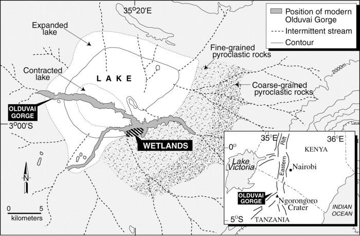 Mappa del sito di Olduvai, in Tanzania