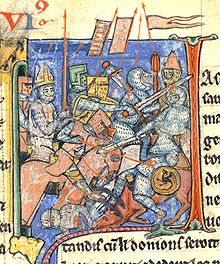 Ademaro porta la Lancia Sacra in battaglia,miniatura medievale.