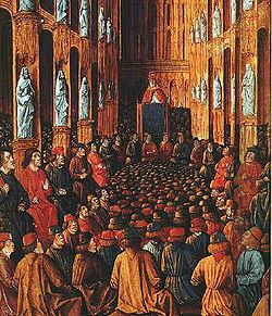 Papa Urbano II al Concilio di Clermont, miniatura dal Livre des Passages d'Outre-mer, 1490 circa (Bibliothèque National)