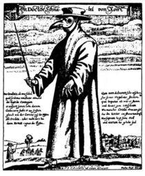 """""""Il medico della peste"""", acquaforte di Paulus Fürst 1656 (da J. Columbina). Durante quest'epidemia , a Roma, i medici ritenevano che questo abbigliamento proteggesse dal contagio. Indossavano un mantello cerato, una sorta di occhiali protettivi e guanti. Nel becco si trovavano sostanze aromatiche."""