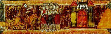 Pietro l'Eremita mostra ai crociati la via per Gerusalemme.Illustrazione tratta dal manoscritto pergamenaceo Roman du Chevalier du Cygne (1270 ca).