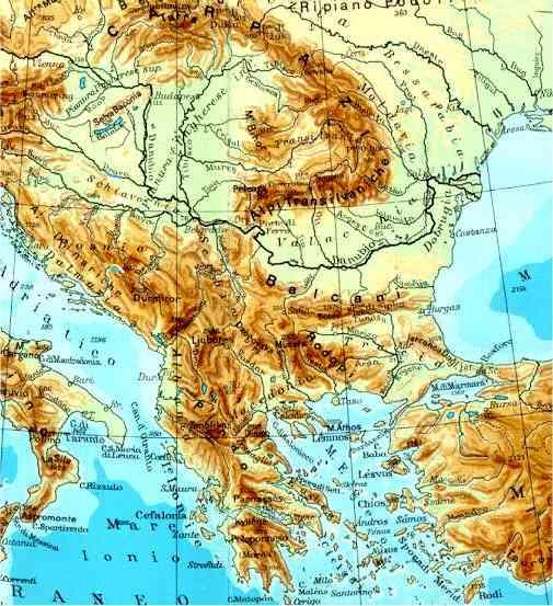 Risultati immagini per penisola balcanica mappa fisica