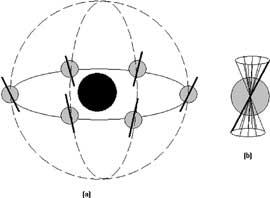 Fig. 11. (a) Moto di traslazione della Terra trasportata dalla sua sfera celeste e (b) moto di precessione dell'asse terrestre, introdotto per mantenere costante l'orientazione dell'asse stesso rispetto alle stelle fisse.
