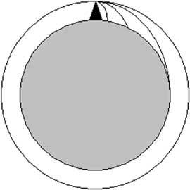 Fig. 15. Schema utilizzato da Newton per mostrare come il moto della Luna intorno alla Terra altro non è che un continuo moto di caduta della Luna sulla Terra.
