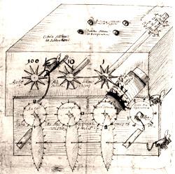 Schizzo autografo della macchina di Leibniz.