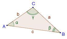 Convenzione per la nomenclatura degli elementi di un triangolo