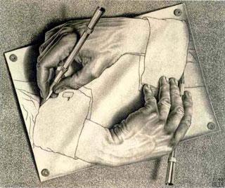 Mani che disegnano Maurits C.Escher 1948, Litografia