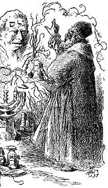 Il Golem e Rabbi Loew ben Bezalel in un disegno di Mikolas Ales (1852 - 1913)