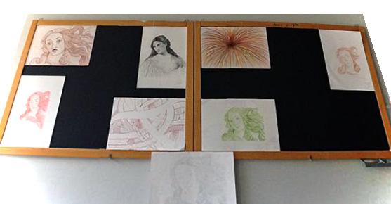 Bozzetti di ritratti di Cunegonda da appendere sullo sfondo della stanza di Candido